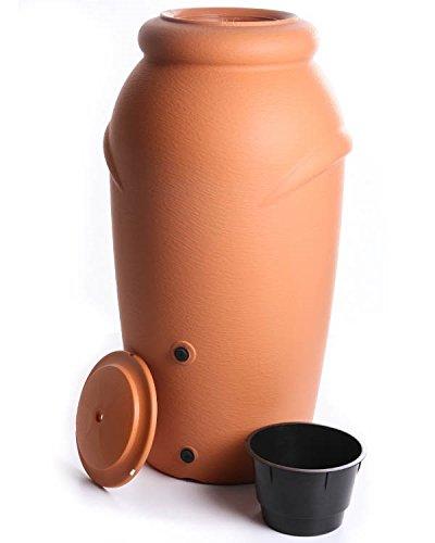 Regenwassertonne Regentonne Regenbehälter Regentank Amphore 210L 3 Farben Wasserhahn wählbar (Terracotta mit Wasserhahn)