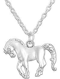 Cute Pony chapado en rodio caballo colgante collar para Teen Girls y Little Boys
