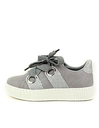 Cendriyon, Sneakers Grises avec Paillettes BE Sport Look Chaussures Femme