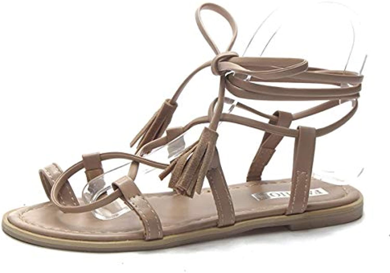 52718cc0149b GTVERNH Women S Shoes Flat Bottom Bandage Sandals Summer Students Joker  Rome Rome Rome Tie Holiday Seaside Beach Cool Boots. B07GFLP3BT Parent  cd8f27
