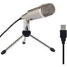 Tonor Microfono a Condensatore Professionale USB per Computer Plug and Play Colore Champagne