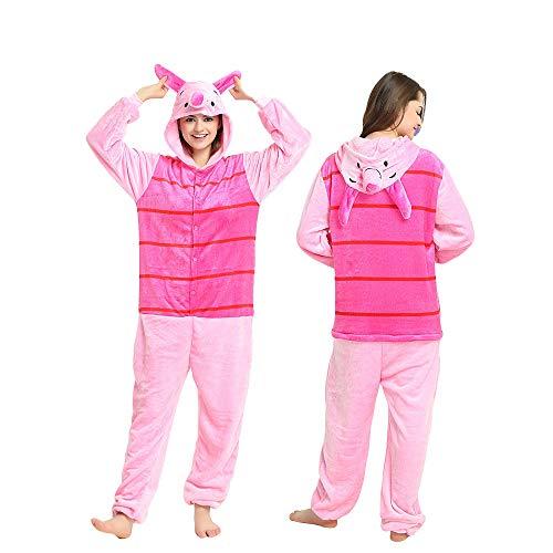 Puuh Winnie Kostüm Ferkel - Winnie the Pooh Fernsehcharakter Unisex-Einteiler, Kostüm mit Kapuze, Pyjama, ferkel, XL(180CM-190CM)