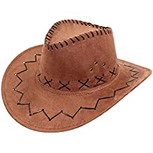 Marrone - Cappello - Cowboy - Cowgirl - Far West - Western - Rodeo - Saloon  - Sceriffo - Costume - Travestimento - Carnevale - Halloween - Cosplay ... 85bb11014b25
