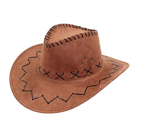 Marrone - Cappello - Cowboy - Cowgirl - Far West - Western - Rodeo - Saloon - Sceriffo - Costume - Travestimento - Carnevale - Halloween - Cosplay - Accessori - Uomo - Donna - Bambini