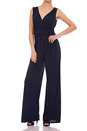 Eleganter Laeticia Dreams Damen Overall Jumpsuit V Ausschnitt S M L XL, (Blauer Jumpsuit)