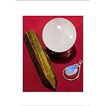 britain-e-spheres Crystal Collection–1x amarillo ojo de tigre doble terminación cristal varita (aprox. 93mm & 44g) y una clara a opaco Cristal de cuarzo tibetano esfera bola Orb (aprox. 38mm y 76G) en un 28mm x 12mm lacado rústico de madera expositor Pedestal y bono de regalo pequeño reciclado chapado en plata colgante de gema (sin cierre) adorno accesorio curación Reiki–* * * Solo artículo único lista–el tema en las fotografías es exactamente el tema que será enviado * * *