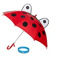 Durable Kids Automatic Rain/Wind Resistant Umbrella with Safety Whistle + Sumaclife Courage Wristband