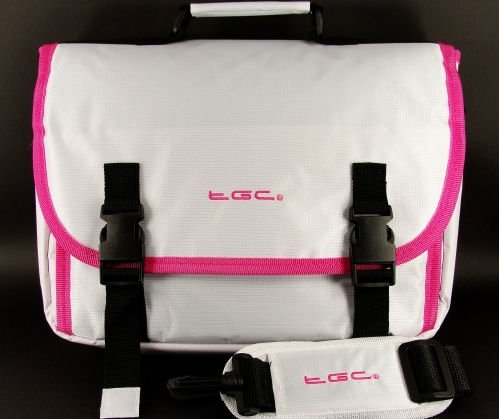 New White &Pink Radkappen Messenger Style Tasche für Portable Dvd-Player (Portable Dvd-player White)