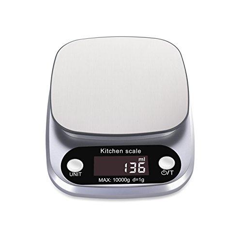 Rophie Bilancia da Cucina Digitale Elettronica 10kg/1g Multifunzione da Cucina con Piatto di Pesata in Acciaio Inossidabile e Schermo LCD per Cucinare, Cuocere al forno e Dieta sana
