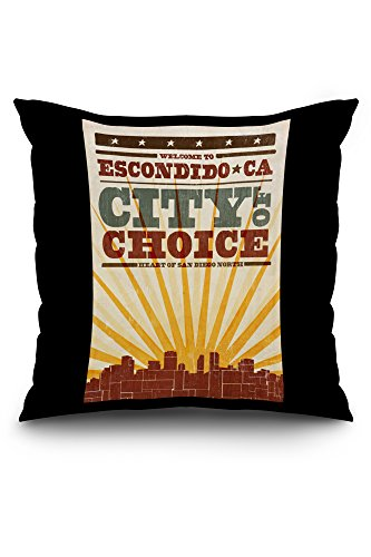 escondido-california-skyline-and-sunburst-screenprint-style-20x20-spun-polyester-pillow-case-white-b