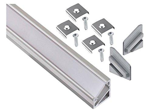 Aluminium Aufbau Eck-Profil eloxiert 2m SET + Abdeckung opal + 2x Endkappe + 4x Montageklammer - für LED Lichtband