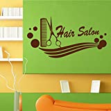 Hwhz Hair Salon Barber Shop Sticker Name Scissors Decal Neutral Haircut Poster Vinyl Wall Art Decals Decor Decoration E
