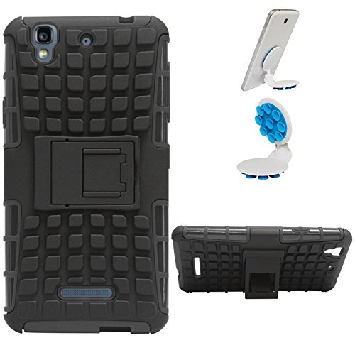 DMG Dual Hybrid Hard Grip Rugged Kickstand Armor Case for YU Yureka Plus (Black) + Octopus Mobile Phone Holder Stand