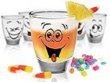 Shooter - Juego de 6 vasos de chupito para vodka, tequila, con divertida decoración de caritas sonrientes, para regalo