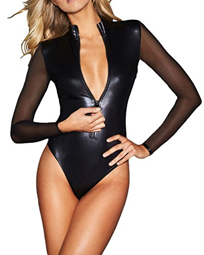 FreestyleMo Damen Bodysuit mit Lange Mesh-Ärmel Zipper Leder Overalls Jumpsuit (M, (Mesh Schwarz Bodysuit)