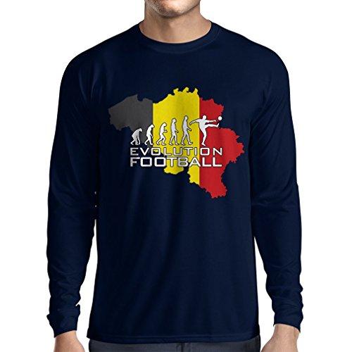 Langarm Herren t shirts Evolution Fußball - Belgien, Die belgische Flagge (XX-Large Blau Mehrfarben)