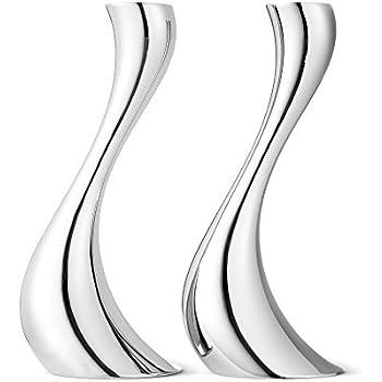 en Acier Inoxydable Argent Georg Jensen Cobra Bougeoir Miroir 8.5/x 7.5/x 16/cm