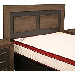 Cabezal cama de matrimonio color britania y grafito con melamina textura madera para dormitorio de 160cm ancho x grosor 30MM x 121cm altura