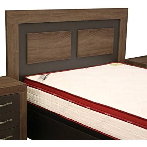 Cabezal cama de matrimonio color britania y grafito con melamina textura madera para dormitorio de 160cm ancho x grosor 30MM x 121cm