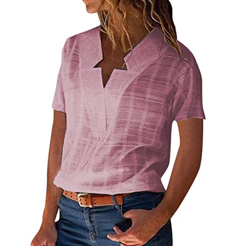 ❤AG&T❤ Damenhemd Mode mit V-Ausschnitt aus festem Baumwollleinen-Sternausschnitt Lässige Kleidung T-Shirts -