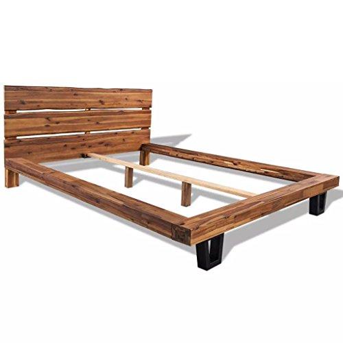 Festnight struttura letto matrimoniale giroletto in legno massello di acacia 140x200 cm/180x200 cm