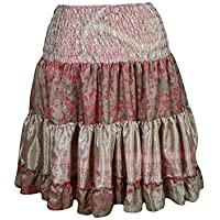 Mogul Interior Kayla Womens Flirty Short Skirt Upcycled Silk Tiered Beach Holiday Sexy Skirts