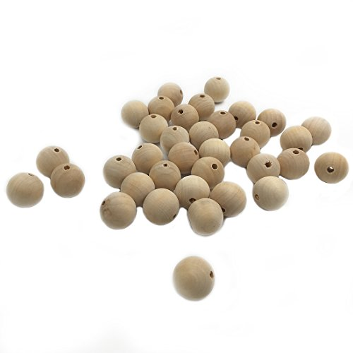 Coskiss 20pcs Bebé Teether Toys 0.71 pulgadas (18mm) cuentas redondas de madera naturales enfermería masticar Mordedor de madera para bebé mordedor collares / pulseras (20pcs)