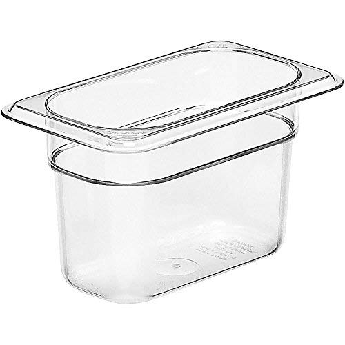 Camwear Food Pan, Plastic, 1/9 Size, 4'' Deep, Polycarbonate, Clear, Nsf (6 Pieces/Unit) by Cambro Camwear Food Pan
