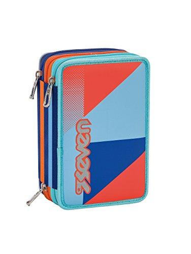 Estuche escolar 3 compartimentos SEVEN – PSYCHEDELIC BOY – 3 pisos – azul naranja – con lápiz, marcadores, boligrafos.. nuevo!
