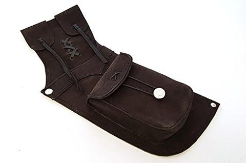 Tir à l'arc traditionnel en daim arrière en cuir pour main droite Quiver. (Marron foncé et jaune pour main gauche)., marron foncé
