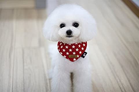 Gabrielley Super Lovely Casual Style Cotton Pet Bandana Dog Collar-Red