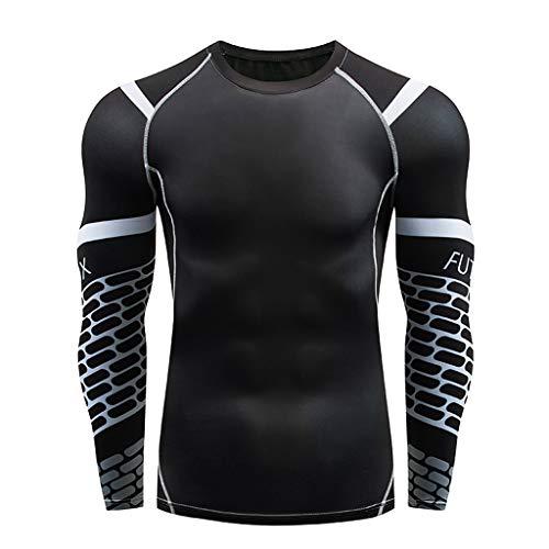 DNOQN Langarm Polo Herren Stylische T Shirts Herren Beiläufig Fitness Schnell Trocknende Elastische Atmungsaktive Sport Fest Langarmshirts S