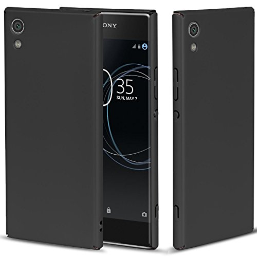 Conie Basic Slim Cover kompatibel mit Sony Xperia L1, Extra dünne Anti Fingerprint Hülle Schutzhülle Rutschfeste Oberfläche (Schwarz Matt Finish)