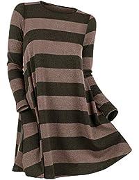 Rosegal Pull Chandail Femme Mode Chemisier Manche Longue rayé Col Rond Sweat -Shirt Chaude Tunique Long… e1ba3c82f6a