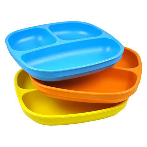 Re-Play, Kinderteller unterteilt Set, 3 Stück   BPA-frei   Stabiles Kindergeschirr   nachhaltig durch Recyclingmaterial   (Spring)