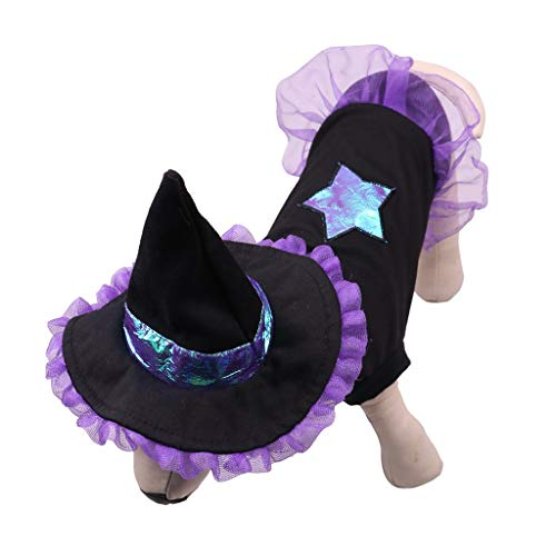BBring Hexe Haustier Kostüm für Katzen Hunde, Halloween Haustier Kostüm Dress Up Star Muster Nette Hunde Katze Haustier Kleidung für Hündchen Kätzchen (S, - Gute Hexe Kostüm Muster