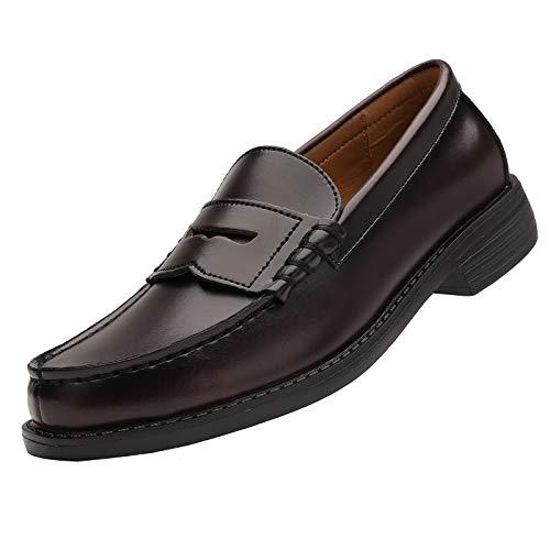 Yaer Classic Scarpe da Uomo Sera Eleganti Pelle Mocassini Slip On Penny Loafers Scarpe da Barca Borgogna 43 CN