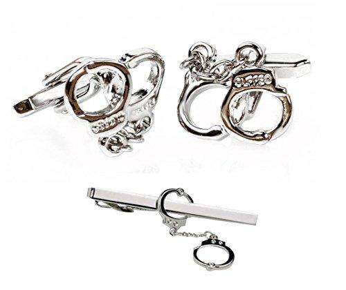 Handschellen SET Manschettenknöpfe + Krawattennadel Krawattenklammer