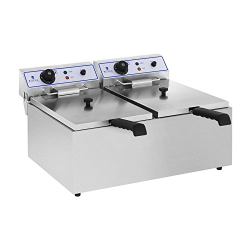 Royal Catering RCEF-SET2 Elektro-Fritteuse mit Untergestell Doppel Fritteuse (2 x 17 L, 2 x 3.000 W, Untergestell 62 x 42 cm) Edelstahl