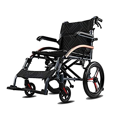 Shisky Elderly wheelchair folding lightweight elderly disabled ultralight portable aluminum travel trolley