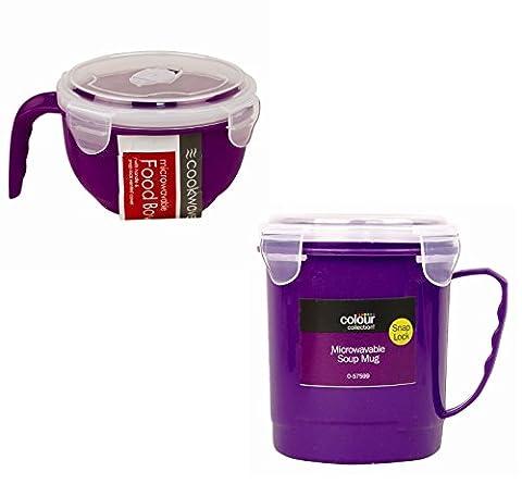 Passe au micro-ondes 2pièces Bol et Mug à soupe Set (Violet)