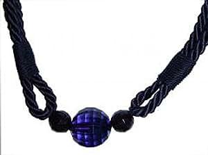 Embrasse de rideaux en corde avec perles 80 cm (1 pièce)-Bleu marine