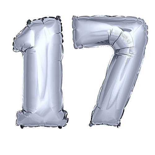 DekoRex® Folienballon Zahlenballon Luftballon Geburtstag Deko 80cm Zahl Silber 17 (Geburtstag Ballons 17)