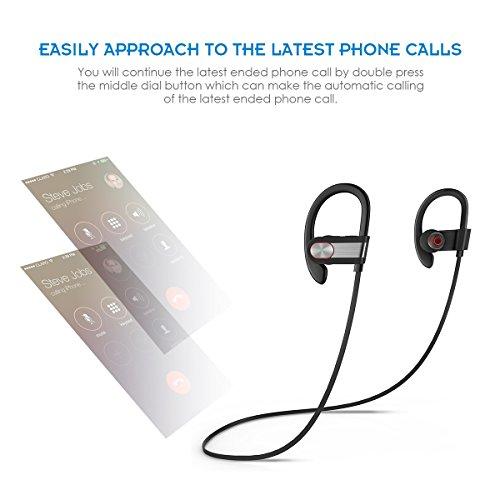 Honstek H9 drahtlose Bluetooth 4.1 Sport Kopfhörer / Headsets / Ohrhörer / Kopfhörer mit Mikrofon für Gym, Rennen, Jogger, Wandern, Übung für iPhone, Samsung, Galaxy, Android Handys, Bluetooth Smart TV (Schwarz/Grau) - 6
