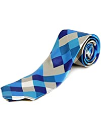 Blacksmith Water Blue Checks Design Tie - Checks Tie For Men - Slim Checks tie for Men