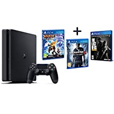 Sony Playstation 4 Slim 1000GB Wi-Fi Nero + Ratchet & Clank + Uncharted 4: fine di un ladro + The last of us remastered