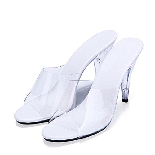 W&LMTrasparente Scarpe di cristallo Pantofole da portare temperamento sandali Tacchi alti Fine con sandali Scarpe all'aperto meters white 7cm