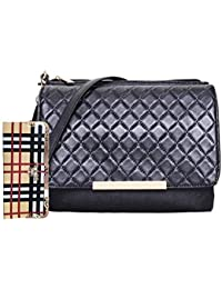 HSC Black Sling-bag With Stylish Clutch Combo For Girls & Women