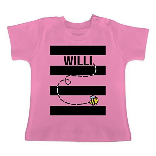 Karneval und Fasching Baby - Bienen Kostüm Willi - 1-3 Monate - Pink - BZ02 - Baby T-Shirt Kurzarm (Lustiger Film Paare Kostüm Ideen)