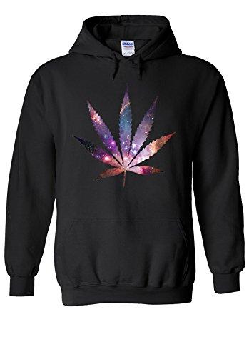 Weed Leave Galaxy Space High Novelty Black Men Women Unisex Hooded Sweatshirt Hoodie-L